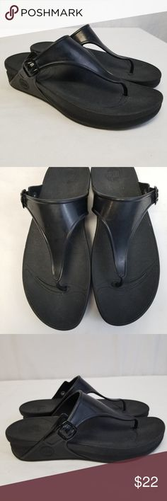 34a768125346 FitFlop Sandals Superjelly Sandal Flip flop SZ 10 FitFlop Sandals  Superjelly Sandal Thong Flip flop Black Women s Size Great pre-owned  condition!