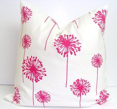 Flower Pillows.Decorative Pillow Pink Floral by ElemenOPillows
