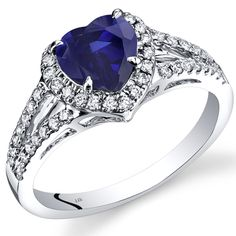 14K White Gold Created Blue Sapphire Diamond Halo Ring Heart Shape 1.90 Carats Total