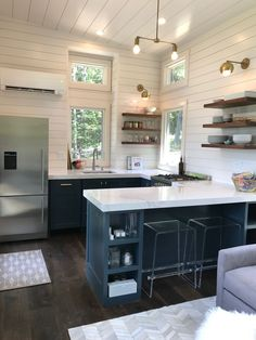 What's in our new Tiny House Kitchen! – Dawn Bradley What's in our new Tiny House Kitchen! Our Tiny House on Wheels on 100 Days of Real Food Tiny House Plans, Tiny House On Wheels, Home Design Plans, Home Interior Design, Exterior Design, Minimaliste Tiny House, Small Kitchen Layouts, Small Kitchen Plans, Narrow Kitchen