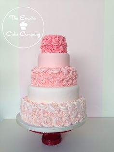 Pink ombre rose buttercream wedding cake by Banphrionsa Rosa Ombre Rose Buttercreme Hochzeitst Roses Buttercream, Buttercream Wedding Cake, Fancy Cakes, Cute Cakes, Pretty Cakes, Wedding Cake Designs, Wedding Cakes, Ombre Rose, Dark Ombre