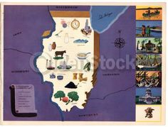 Illinois State Vintage Graphic Art Illustrated Map of Illinois 1939
