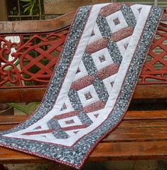 Easy festive paper pieced table runner PDF quilt pattern