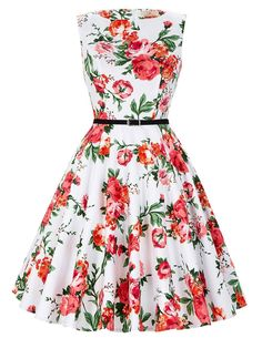 Cute Boatneck Sleeveless Vintage Tea Dress With Belt rose