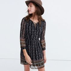 Madewell-Lace Up Printed Dress