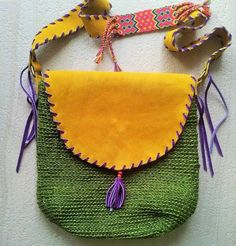 green handcrocheted raffia fique boho crossbody with gold suede trims and strap