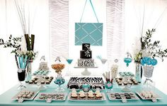 Tiffany blue  zebra print dessert table.