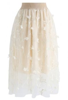Sprightly Garden Double-Layered Embroidered Mesh Tulle Skirt in Cream - NEW ARRIVALS - Retro, Indie and Unique Fashion