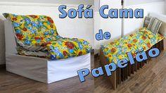 SOFÁ CAMA FEITO DE PAPELÃO COM EFEITO SANFONA. DIY SOFÁ.