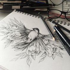 underboob. sternum. bird. sparrow. leaves.