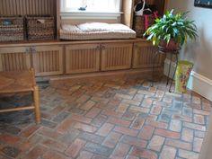 Brick flooring made from salvaged building bricks