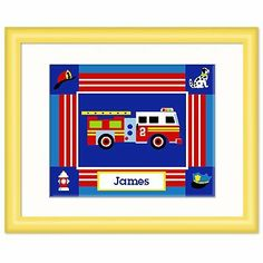Olive Kids Heroes Personalized Yellow Framed Print by Olive Kids. $53.99. Ready to hang.. Please enter personalization request in the gift message section at checkout.. Frame: 12 x 15 with an 8 x 10 print.. Fire truck image. Name centered underneath. Solid wood frame, yellow with white mat and glass.. Save 10%!