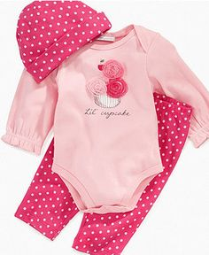 First Impressions Baby Set, Baby Girls 3 Piece Bodysuit and Pant Set - Kids Baby Girl (0-24 months) - Macy's