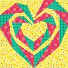 Its true. I have a passion for designing spirals, especially those that do interesting things like form hearts, or roses, or snail shells. One of the great features about paper pieced spirals is that the designs look complex, but the paper piecing itself is quite straight-forward. The designs unfurl right before your eyes as you sew them. Such fun! I stitched a 9 size of this block in 3 shades of delft blues to make a small back-support pillow for my mom, bordered and backed with denim…