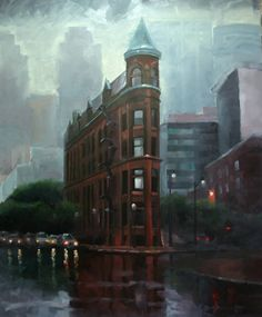 The Flat Iron Building, Toronto Oil on board I Love Rain, Toronto Canada, Flat Iron, Cityscapes, Oil Paintings, My World, Old And New, Smoothie Recipes, Inspire