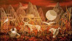 Valle de la Luna. 1950. Gouache sobre cartulina. 29,5 x 50 cm. Colección particular. México. Obra de Remedios Varo