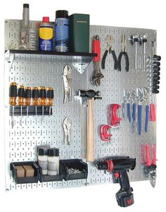 Visit The Home Depot to buy Wall Control Metal Pegboard Utility Tool Storage Kit - Galvanized Steel Pegboard & Black Accessories Organisation Hacks, Garage Organization Tips, Diy Garage Storage, Tool Storage, Garage Ideas, Workshop Organization, Organization Station, Organizing Life, Basement Storage