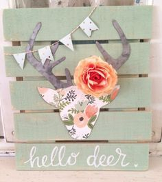 DIY Teen Room Decor Ideas for Girls | Floral Deer Head Pallet Art | Cool Bedroom Decor, Wall Art & Signs, Crafts, Bedding, Fun Do It Yourself Projects and Room Ideas for Small Spaces http://diyprojectsforteens.com/diy-teen-bedroom-ideas-girls-rooms #cuteteengirlbedroomideas