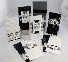 notecard set of handmade cards ... black & white ... Everyday Elegance from Stampin' Up! ... clean lines ... lovely!!