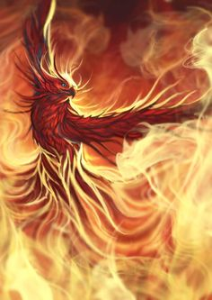 The mythical Phoenix bird inspired the X-Men character of the same name. Magical Creatures, Fantasy Creatures, Phoenix Rising, Mythological Creatures, Firebird, Dragons, Cool Art, Birds, Bird Tattoos