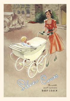"""Doesn't the """"lady in red"""" look rather fabulous in this beautiful 1950s illustration? She's pushing the elegant Silver Cross Ambassador baby coach."""