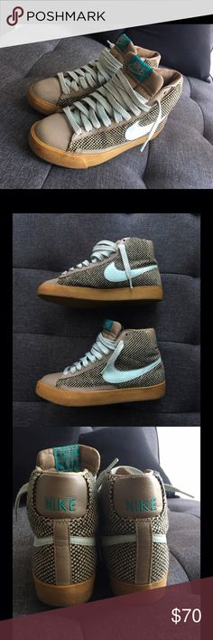 Rare Nike Wool & Leather Tweed Blazers Women's Nike tweed blazers, powder blue, tan & brown with gum soles. Leather & wool. Size 7. Has a lil scuff on toe of one shoe but other than that, they're in good condition.NO TRADES Fast Shipper Nike Shoes Sneakers