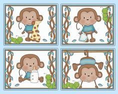 Hanging Swinging Monkey 8x10 Wall Art Prints for baby boy jungle animal nursery or children's safari room decor #decampstudios