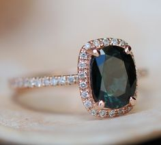 Green sapphire engagement ring. Peacock green sapphire 1.78ct cushion halo diamond ring 14k Rose gold
