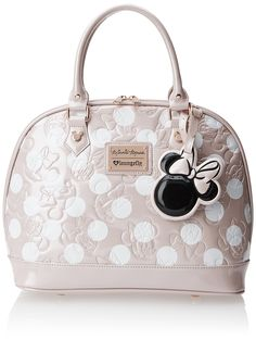 Disney Minnie Mouse Polka Dot Embossed Top Handle Bag,Blush,One Size