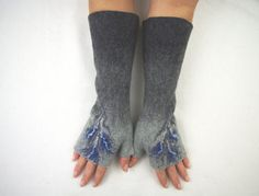 Livraison gratuite Long feutrée Fingerless gants manchettes mitaines Fingerless gants - gris