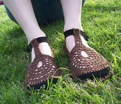 Mary Jane ganchillo zapatos marrón por encargo