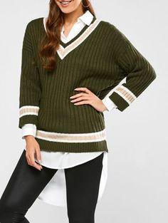 Green Striped Elastic Womens Work Sweater,Cheap Trendy on Sale!