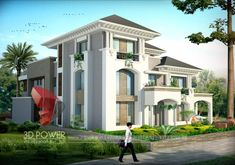 bungalow with white color and green garden exterior architectural rendering 3d Architectural Rendering, 3d Architectural Visualization, 3d Home Design, Modern House Design, Modern Houses, Minimalistic Style, Philippines, Modern Bungalow Exterior, Ultra Modern Homes