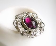 Victorian Oversized Amethyst and Silver Ring - Victorian Jewelry