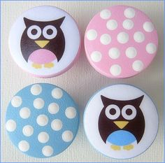 Kids Knobs - Drawer Knobs - Owl - Polka Dots - Owl Knobs - Dresser Knobs with Metal Insert