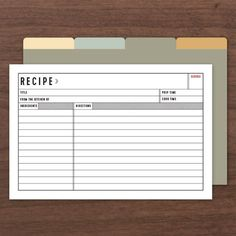 Official Recipe Cards - Editable