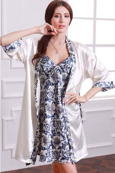 fb378acb3c Olivery Womens Gorgeous Faux Silk Sleepwear Loungewear Dress   Robe 2 Pcs  Set Dark Blue