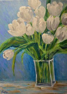 """White Tulips"" An Original Acrylic Painting by Elizabeth Lee of Richmond, Virginia."