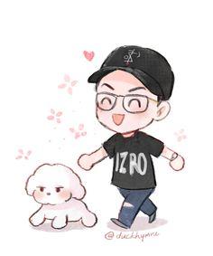 Sehun and Vivi fanart Exo Cartoon, Cartoon Dog, Sehun Vivi, Baekhyun, Exo Stickers, Chibi Wallpaper, Exo Fan Art, Kpop Drawings, Kpop Exo