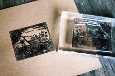 Ship Rubber Stamp - Ship Stamp - Woodcut Rubber Stamp, Ocean Rubber Stamp