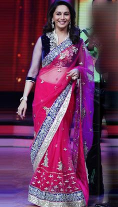 USD 89.5 Madhuri Dixit In Jhalak Pink Bollywood Replica Saree  32792
