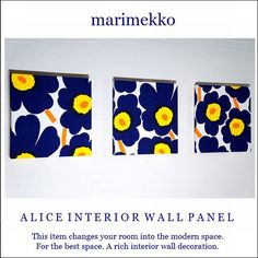marimekko/マトカアッラマアッレMatkallaMaalle/ファブリックパネル/マリメッコ4枚セット/30×30/水色シャープ/インテリアパネル/北欧 Modern Spaces, Marimekko, Interior Walls, Alice, Wall Decor, Frame, Home Decor, Wall Hanging Decor, Picture Frame