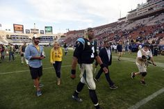 Panthers vs. Rams:  13-10, Panthers  -     Carolina Panthers quarterback Cam Newton (1) walks off the field after defeating the Los Angeles Rams at Los Angeles Memorial Coliseum in Los Angeles, CA on Sunday, November 6, 2016. The Panthers won, 13-10.