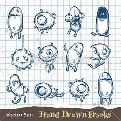 Set of Hand Drawn Freaks Set of hand drawn freaks. Vector… Set of Hand Drawn Freaks Set of hand drawn freaks. Doodle Art Drawing, Art Drawings Sketches, Cartoon Drawings, Cute Monsters Drawings, Cartoon Monsters, Doodle Monster, Monster Drawing, Alphabet Graffiti, Graffiti Art