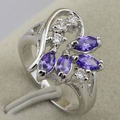 Arbitrary Purple Amethyst Fashion Jewelry Gold Filled Ring Rj744 Size 5.58.5