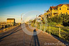 The Boardwalk At Sunrise In Ventnor City, New Jersey. Stock Photo - Image: 47812999