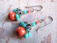 Turquoise & Coral Earrings, Turquoise Jewelry, Swarovski Earrings, Southwest Earrings, Western Earrings, Cowboy Earrings, Southwest Jewelry