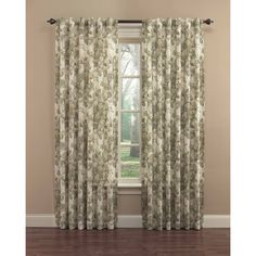 Shop Waverly 84-in L Light Filtering Floral Platinum Back Tab Window Curtain Panel at Lowes.com
