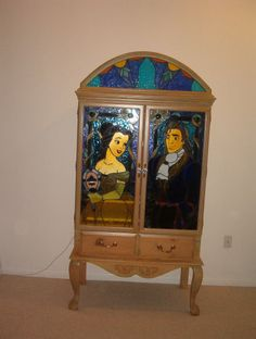 Beauty and the Beast Stained Glass Pine Armoire Furniture artist plaque lighted  | eBay