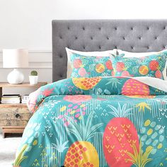 Deny Designs Zw Day Pineapple Twin Duvet Cover In Green